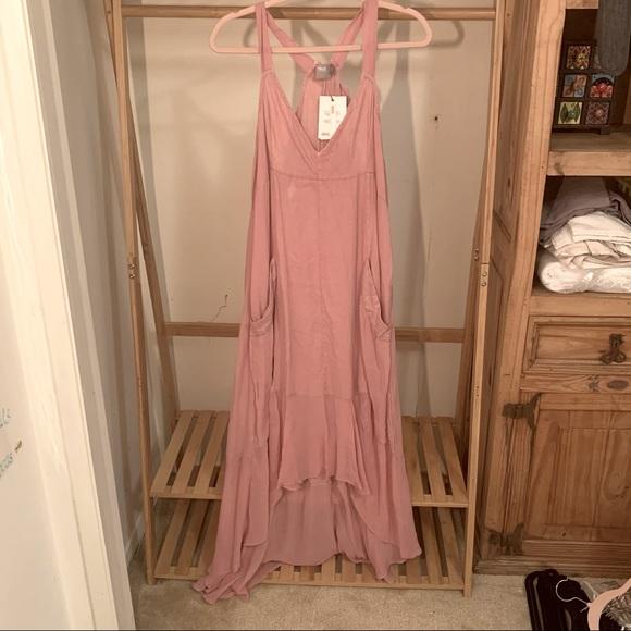 ASOS 100% Cotton Peasant Dress - Dusty Pink